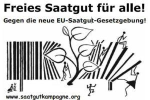 Plakat der Saatgutkampagne mit der Überschrift: Freies Saatgut für alle - darunter eine Pflanze, die einen Barcode durchbricht und die Domain saatgutkampagne.org