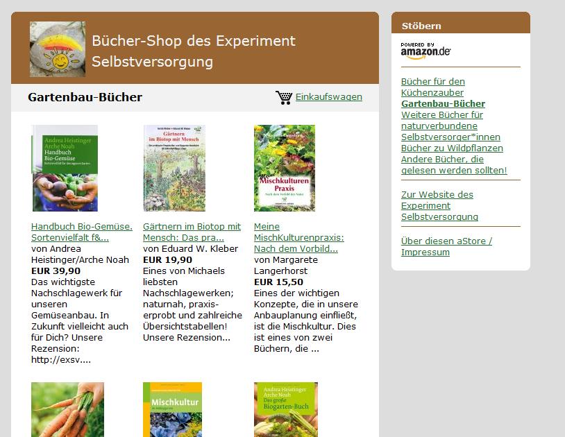 Scrrenshot von unserem Amazon-Store