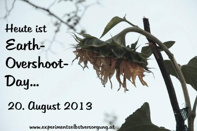 Foto einer verwelkenden Sonnenblume und dem Schriftzug: Heute ist Earth-Overshoot-Day, 20. August 2013, experimentselbstversorgung.net