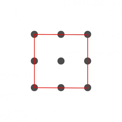 Vier Linine verbinden die äußeren 8 Punkte.