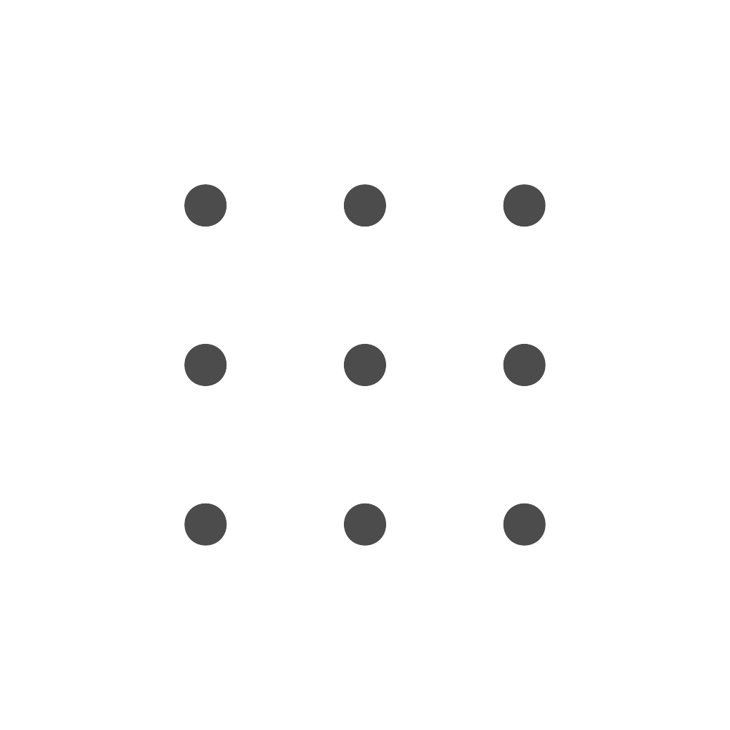 Neun graue Punkte die in drei Zeilen und drei Spalten angeordnet sind.