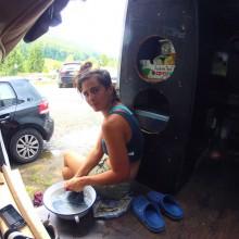 Foto vom Wäsche waschen im Bus