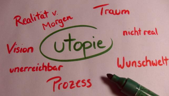 "Brainstormingplakat zum Begriff ""Utopie"""