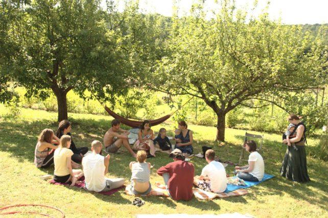 Foto eines Redekreises unter Apfelbäumen