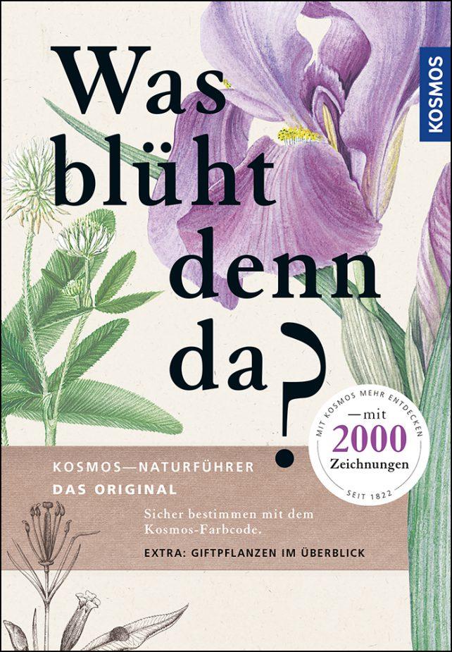 """Buchcover von """"Was blüht denn da"""" mit der Illustration einer lila Blume."""