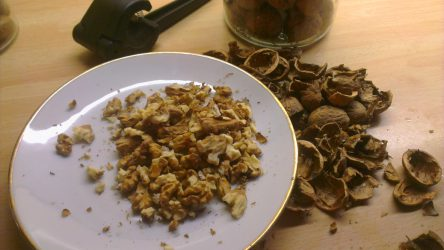 Zu sehen sind Nussschalen, ein Nussknacker und geknackte Nüsse auf einem Teller.