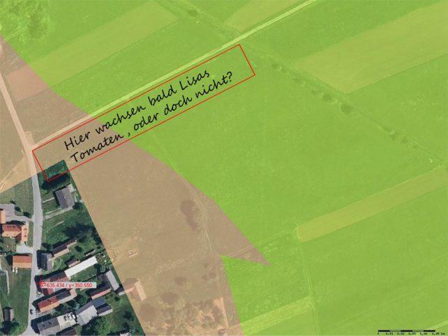 Satellitenbild des Grundstücks mit Schraffuren der Bodenkarte