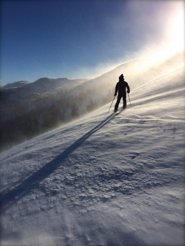 schneebececkter Hang mit Skifahrer von hinten in der Sonne, der perfekte Tag zum glücklich sein