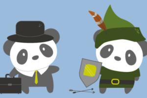 Bild von zwei gezeichneten GreenPanda Pandas. Einer mit Aktenkoffer, der andere mit Robin Hood Kostüm.