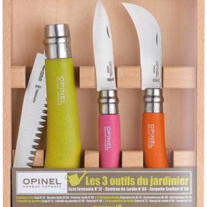 Foto eines Sets von drei Opinel Klappmessern für den Garten